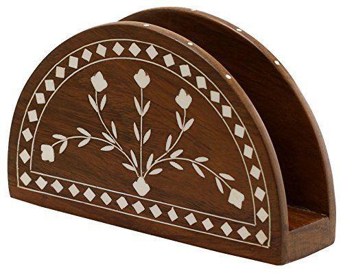 SouvNear Porte-serviettes en Bois / Support de Plaque de papier – Décoratif Centre de Table avec Conception Florales – Organisateur de…