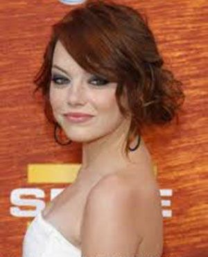 romantic up doHair Ideas, Hair Colors, Wedding Hair, Bridesmaid Hair, Prom Hair, Hair Style, Hairstyles For Prom With Bangs, Updo, Emma Stones
