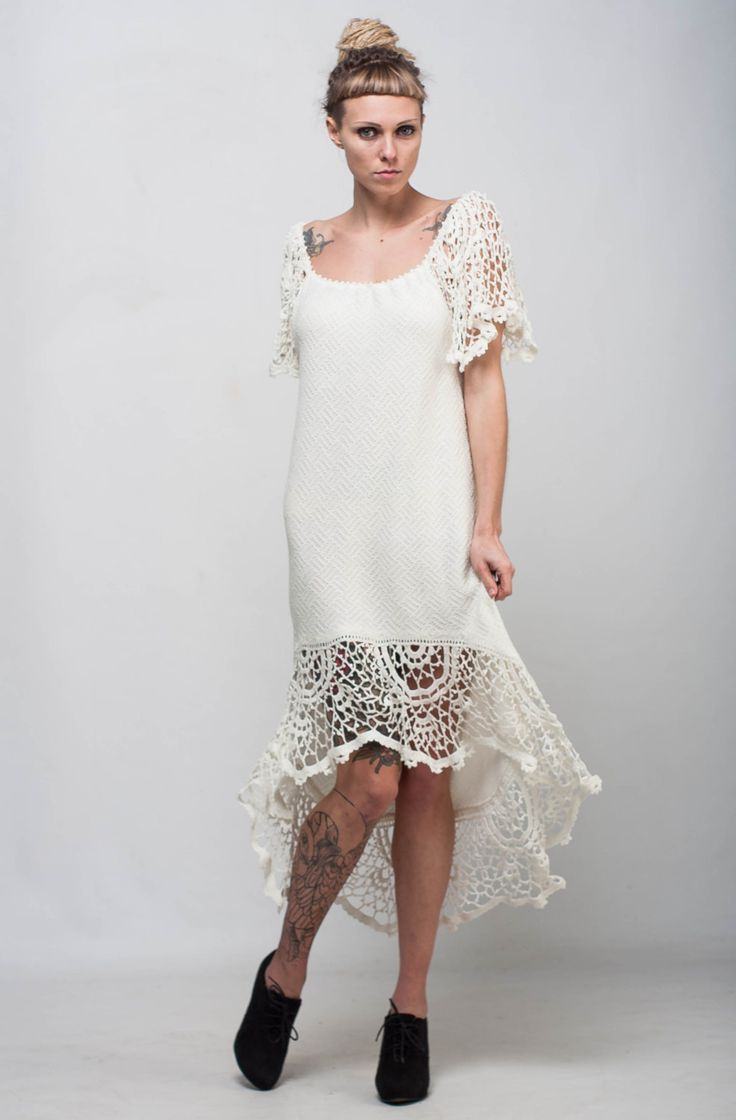 Wedding crochet Dress asymmetric Dress Handmade Maxi Dress Crochet IVORY Dress KNIT lacy Dress CrocheT EVENING Dress Knit sleeve floor Dress by CrochetDressTalita on Etsy