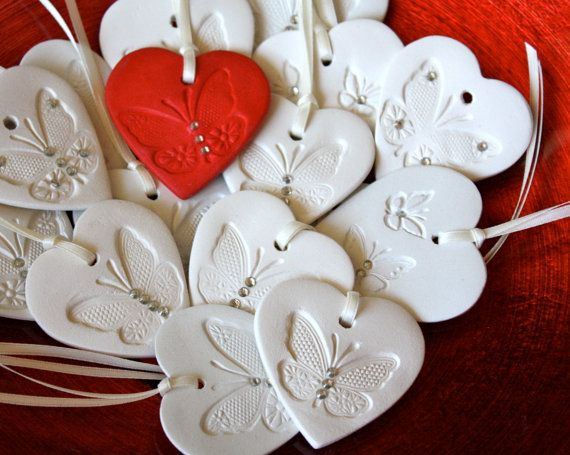 White Heart Favor Gift with Butterfly, Swarovski Crystals for wedding, or Christmas, Holiday ornament on a satin ribbon