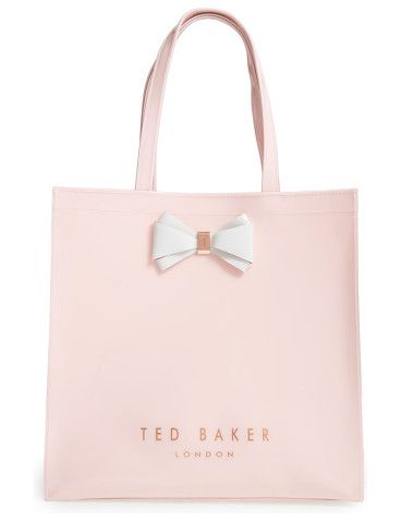 large icon by Ted Baker London. A signature bow plays up the timeless sophistication of a glossy tote that's spacious enough for all the essentials.
