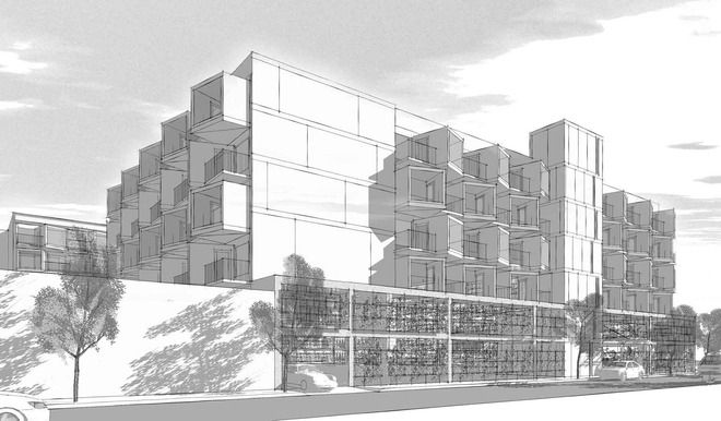 """Study for mitigating the impact of the required parking deck, from """"Using Sketchup to design a contemporary multi-story housing project for a Boston neighborhood."""""""