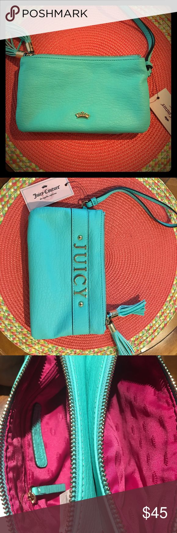 "SALE!!!  💕 Cute Juicy Couture Wristlet CUTE!!  Juicy Couture wristlet has gold colored crown on one side and ""JUICY"" spelled out on the other side.  Both zippered tassels also have ""Juicy Couture"" engraved on them.  Two main zippered compartments have cloth interior.  One of them had a good sized zippered pocket.   Dimensions are about 8.5"" X 5."" Juicy Couture Bags Clutches & Wristlets"