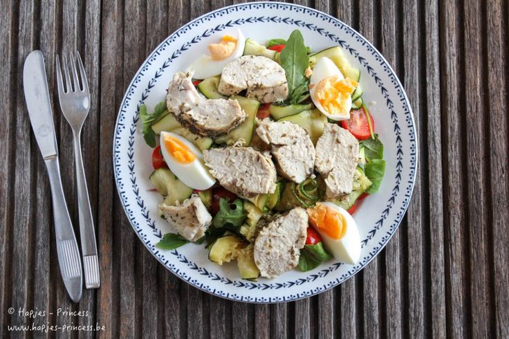 salade met kip, geroosterde courgette en tijm-1