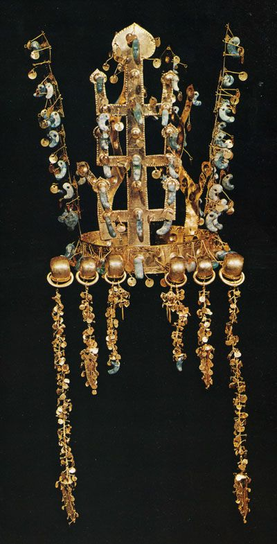 Royal crown from the burial ground of Silla: an ancient, pre-Korean matriarchal society, 3rd to 5th centuries AD.  Photo:Sarah Milledge Nelson.
