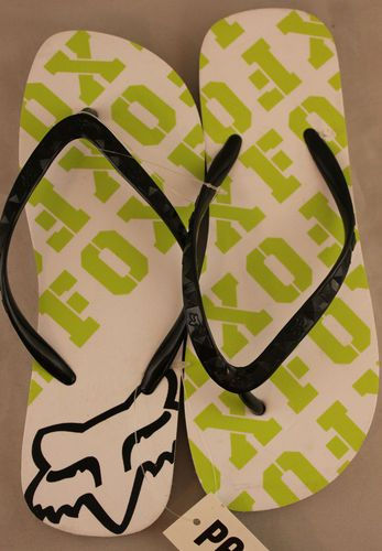 Fox racing white and green flip flop sandals with black straps