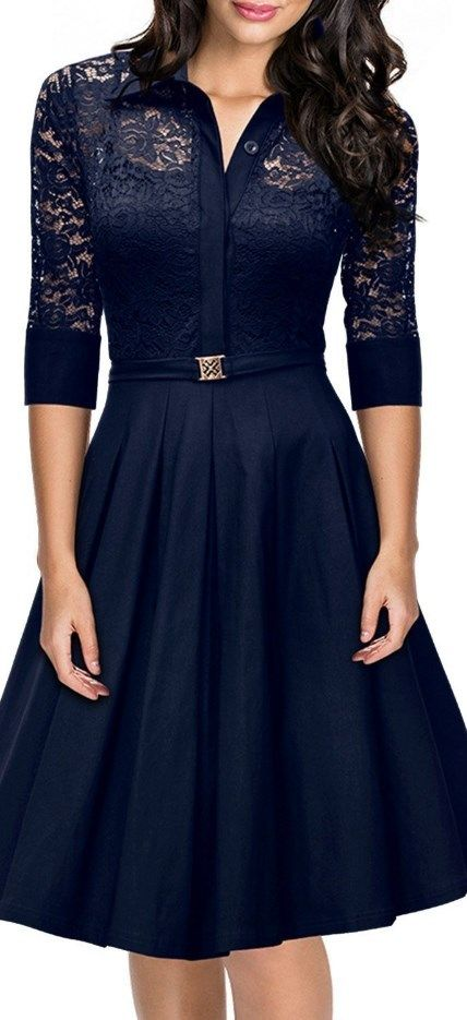 Vintage 1950s Style 34 Sleeve Black Lace Flare A-line Dress - Blue