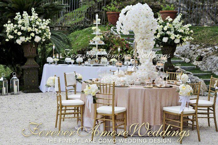 Exclusive wedding reception at Villa Balbianello. Giant phalaenopsis centerpiece with cascade. Event by www.foreveramoreweddings.com #lakecomowedding #foreveramoreweddings #villabalbianellowedding #extraordinaryweddingdecor