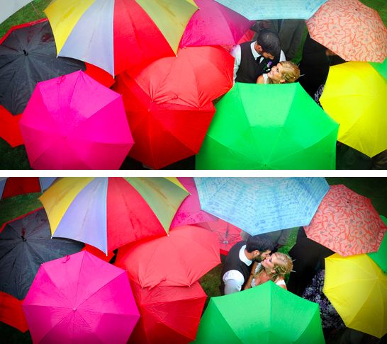 This colorful crew: | 24 Couples Who Absolutely Nailed Their Rainy Day Wedding