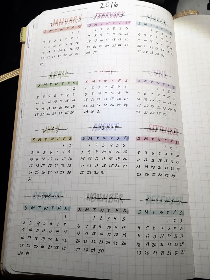 bullet journal, yearly view ( would like to include this so I'm not having to look at my phone calendar and inevitably get distracted)