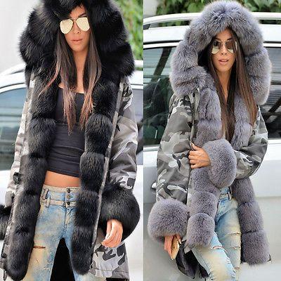 Roiii Womens Faux Fur Camouflage Casual Winter Hooded Jacket Coat Long Outwear