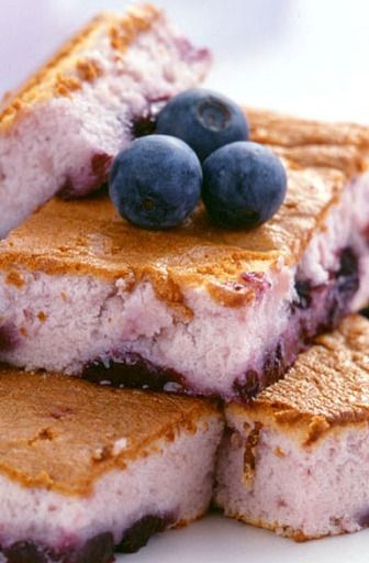 Weight Watchers Blueberry Bars !! ..  Using angel food cake mix (no other ingredients) & mixing in light blueberry pie filling !! .. Yum