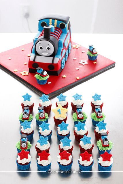 Thomas themed cakes and mini cupcakes by Bake-a-boo Cakes NZ, via Flickr