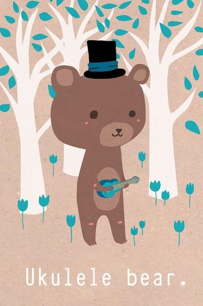 L'ourson Ukulélé : illustration pour enfants