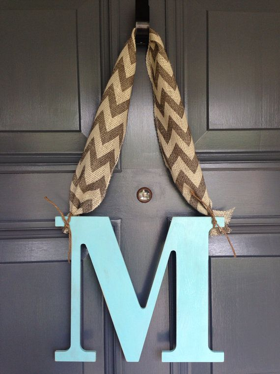 Distressed Monogram Initial Painted Letter M Chevron Burlap Rustic Door Hanger Decor Dorm Birthday