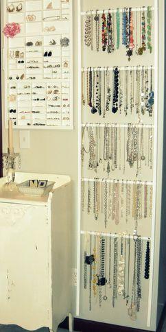 Ladder or garden trellis for necklace storage for my craft room