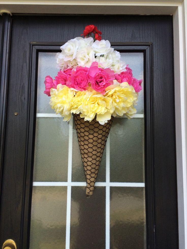 Ice-Cream Cone Wreath Summer Wreath Ice-Cream Door by SnappyPea                                                                                                                                                      More