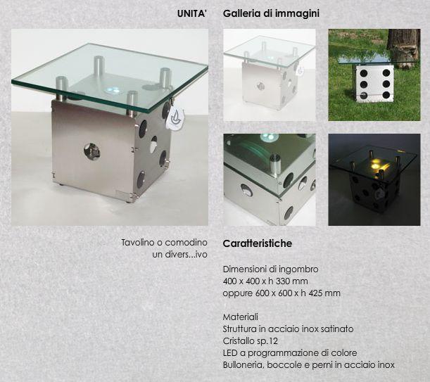 Tavolino a forma di Dado con Led