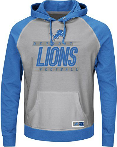 NFL Detroit Lions Mens Crossbar Program Fleece Long Sleeve Pullover Hoodie Steel HeatherSport BlueStone Gray Large ** More info could be found at the image url.