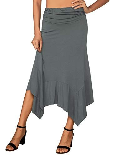 e996e876c90f DJT Women's Flowy Handkerchief Hemline Midi Skirt at Amazon Women's  Clothing store:
