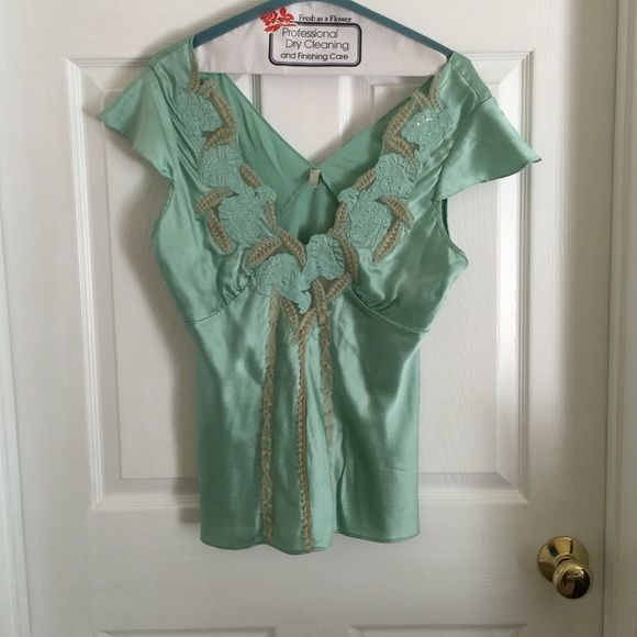 NWOT Gorgeous Mint top Beautiful detail 100% silk. New without tags. Never worn. Too big for me. I think it was $140 will part for reasonable offer Mint Tops