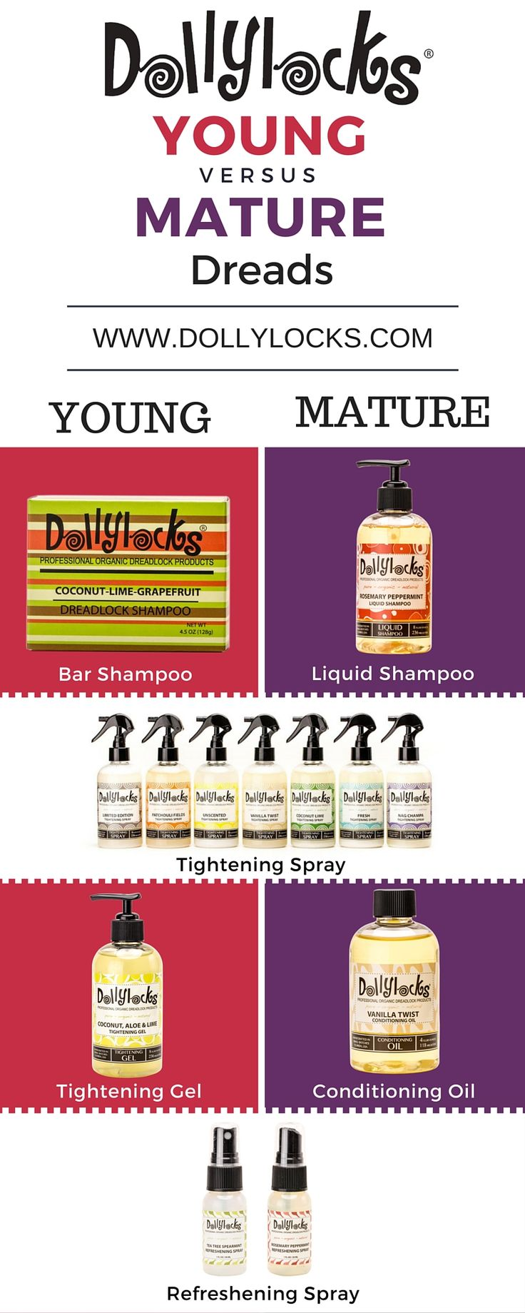 Comparing the products for young and mature dreads. #dreadlocks #dreads #organic #dollylocks