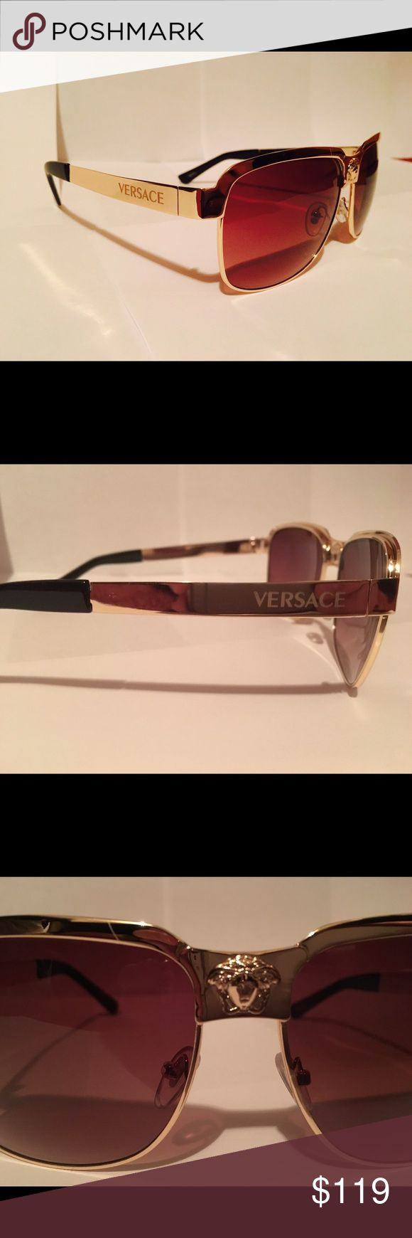 Mens Versace Sunglasses Brand new! Gold accent frames, offers accepted. Versace Accessories Sunglasses