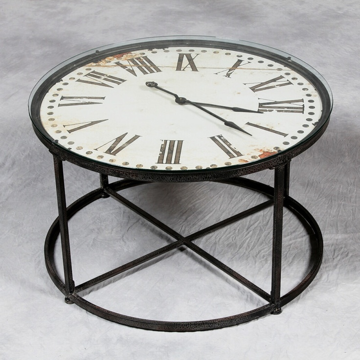 Superbe All Saints Industrial Metal Clock Table