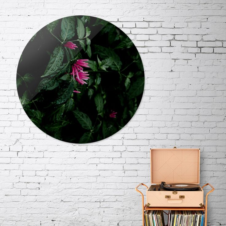 «Tropical flowers», Exclusive Edition Disk Print by VanessaGF - From 80€ - Curioos #flowers #photography #nature #tropical #leaves #diskprint #artprint @Curioos