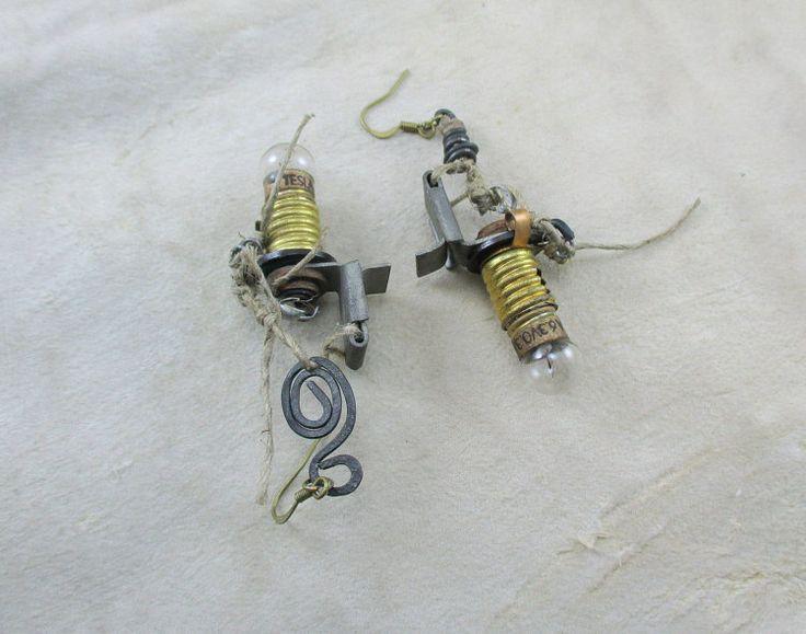 earrings with vintage bulbs tesla steampunk earrings by boele