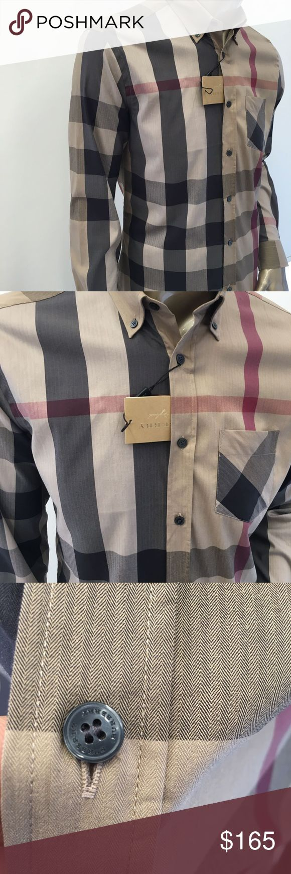 Burberry London Men Thornaby Shirt Camel New with Tags  SMall to XXL Burberry Shirts Casual Button Down Shirts