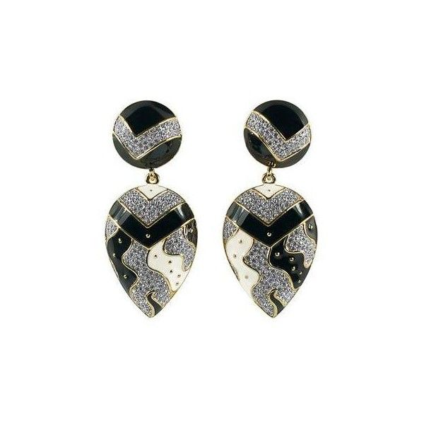 Guy Laroche Black and White Enamel Earrings ($405) ❤ liked on Polyvore featuring jewelry, earrings, black and white earrings, enamel jewelry, guy laroche, black white jewelry and guy laroche jewelry