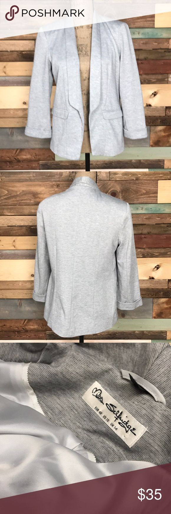 "Miss Selfridge Grey Knit Ponte Blazer Jacket 10 Miss Selfridge Grey Knit Ponte Blazer Jacket 10  // Bust: 20"" laying flat // Length: 24"" Bundle your likes and make an offer for best deals @woodsnap! Miss Selfridge Jackets & Coats Blazers"