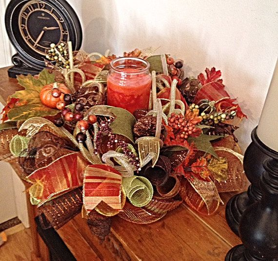 Fall Table Arrangement/Fall Deco Mesh Centerpiece/Autumn Centerpiece/Autumn Table Arrangement