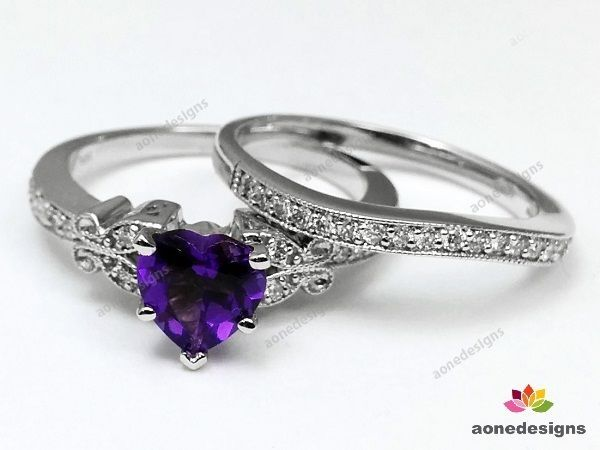 0.37 Ct.tw. Amethyst Butterfly Vintage Engagement Ring & Matching Wedding Band #aonedesigns