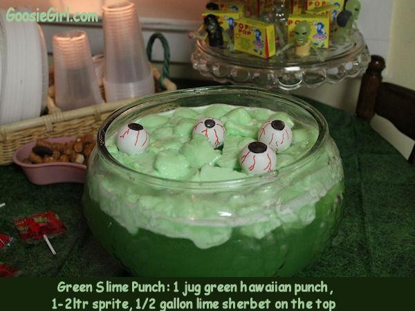 Fear Factor Party-1 jug hawaiian punch (green) 2 ltr sprite, lime sherbet, ping pong ball eyeballs!