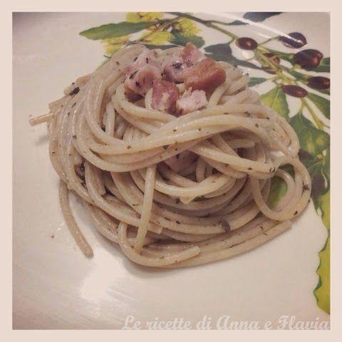 Spaghetti con pancetta e salsa di tartufo nero | Le ricette di Anna e Flavia
