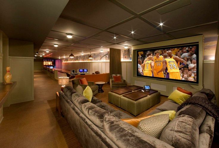 Sectional Sofa With Screen Tv Adjacent To The Bat Bowling Alley