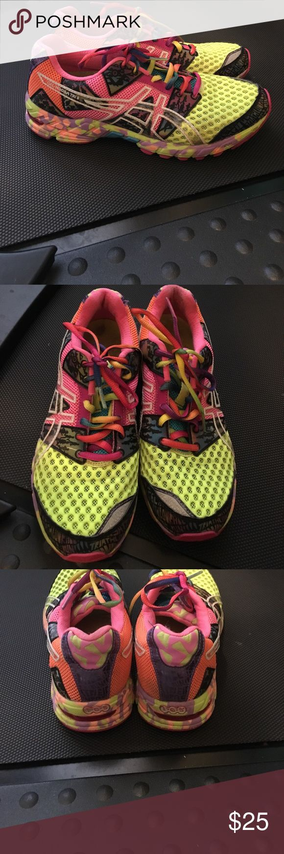 Asics gel noosa tri-8 Super cool multi colored. Have a ton of life left. Asics Shoes Athletic Shoes
