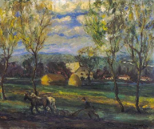 Kernstok Károly (1873-1940) Szántás Olaj, vászon, 56,5x67,5 cm