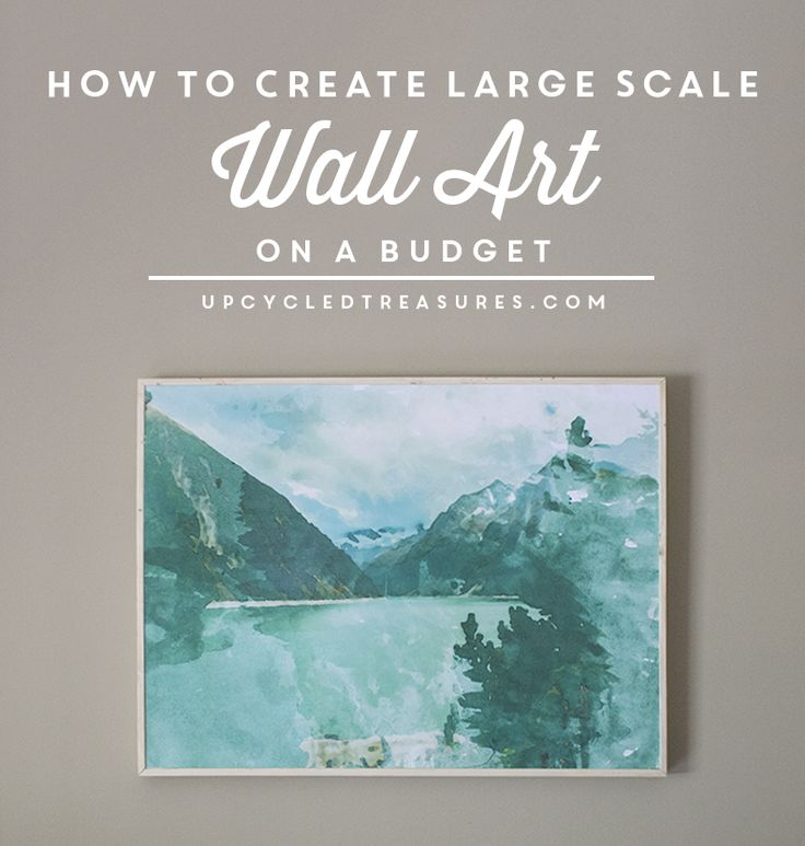 See how easy and inexpensive it is to make this DIY Large Scale Art! UpcycledTreasures.com #DIY #walldecor
