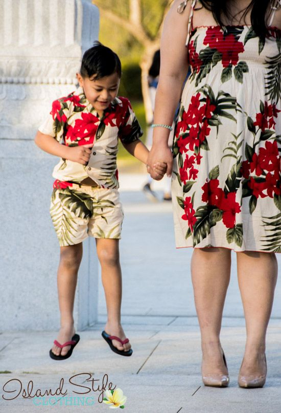 Mother & Son Matching Hawaiian Clothing. Party, Luau, Cruise or beach wedding. Large colourful range.