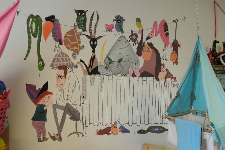 muurschildering Pluk redt de dieren  door Janet Edens op kinderdagverblijf 100% thuis in Amersfoort.  http://janetedens.nl/muurschilderingen/