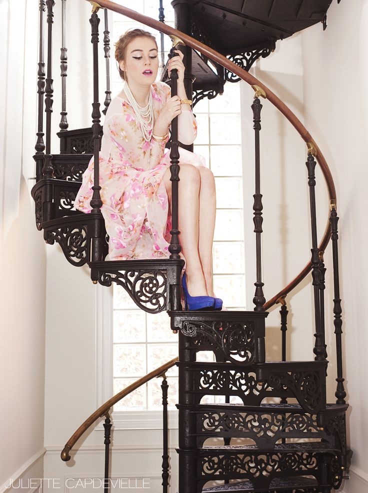 Floral Fashion Photoshoot with @jenniephillips and @breeyn's dress  Industrial Home Stairs