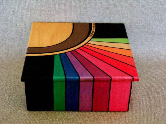 3D Art, Signed Numbered Artwork, Hand painted wooden box, abstract rainbow design, pink red blue green purple black orange, unique, by IshiGallery, $200.00