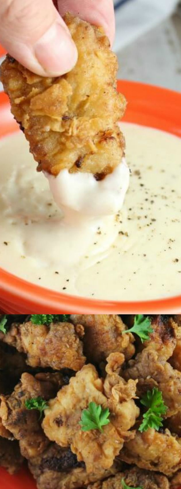 These Chicken Fried Steak Bites with Country Gravy from Miss in the Kitchen are a classic southern dish that your family will love to eat for dinner — or as a game day appetizer!