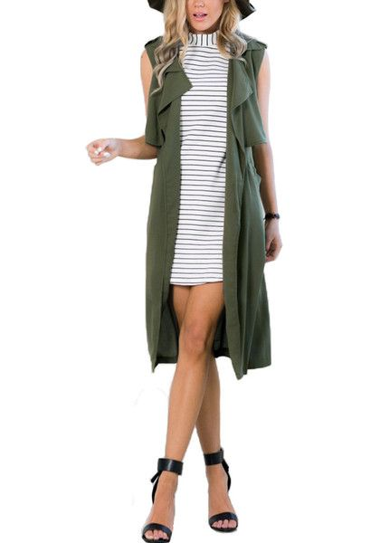 This army green sleeveless trench coat is styled with gorgeous draped lapels, a breezy open front and stylish inseam pockets on the side. | Lookbook Store Outerwear