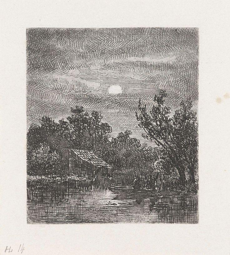 Johannes Pieter van Wisselingh   Vissers bij maanlicht, Johannes Pieter van Wisselingh, 1830 - 1878   Twee vissers zitten in een roeiboot op een rivier. Linksachter staat een huis. Het landschap wordt door de maan verlicht.