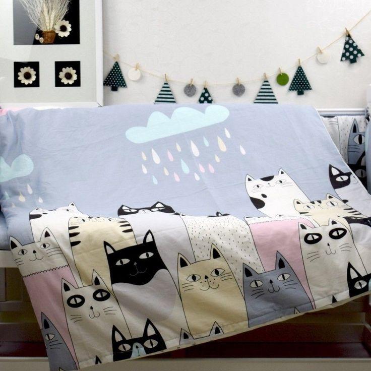 3 pcs/set crib bedding set 100% cotton baby bedding Pink bear Clouds black dot  #dodower