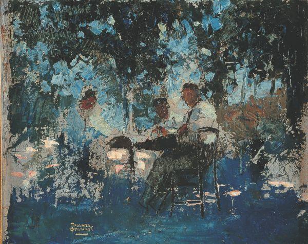 To έργο του Θεόφραστου Τριανταφυλλίδη «Στο καφενείο», 1920-1925
